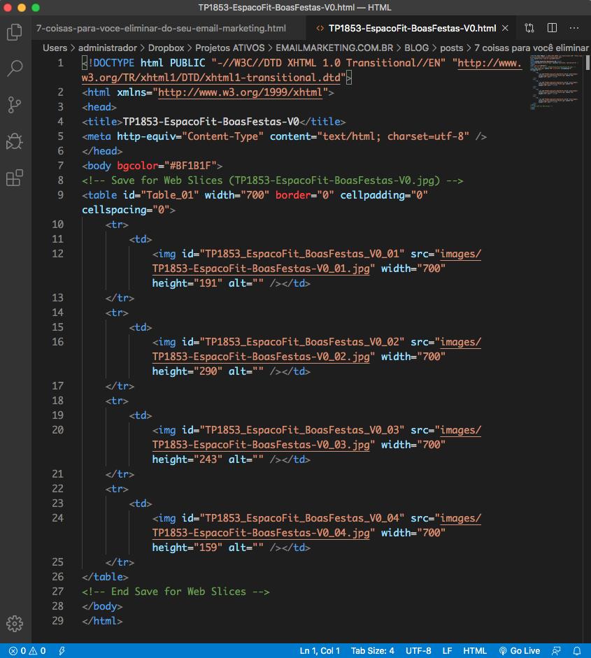 Exemplo HTML gerado automaticamente pelo Photoshop