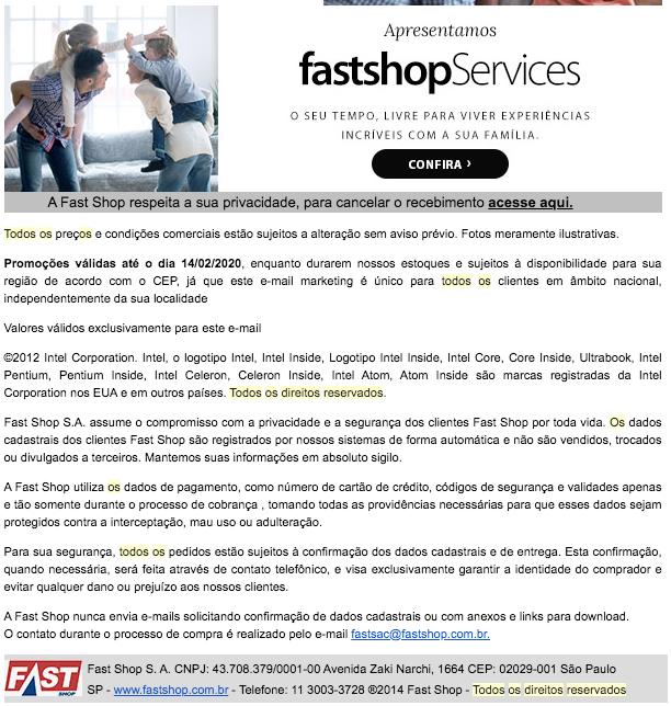 Exemplo de mensagem de copyright em um email marketing