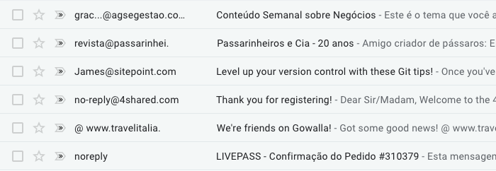 Exemplos de remetente do email marketing com o nome sem identificação clara
