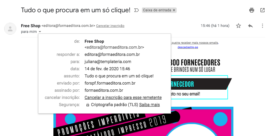 Detalhe de email visualizado no Gmail com o link de opt-out na interface