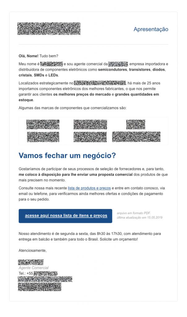 Exemplo de email marketing de apresentação comercial usado em negócios B2B