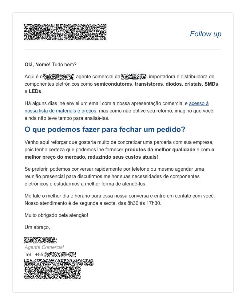 Exemplo de email marketing de follow up usado na prospecção ativa de negócios B2B